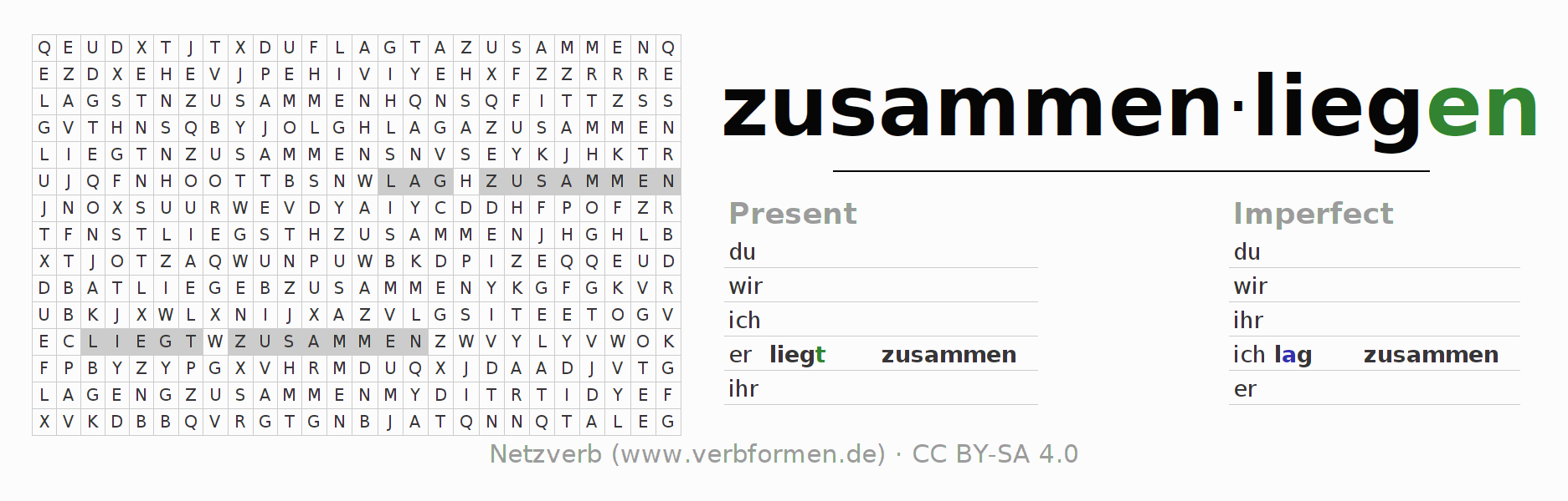 Word search puzzle for the conjugation of the verb zusammenliegen (ist)