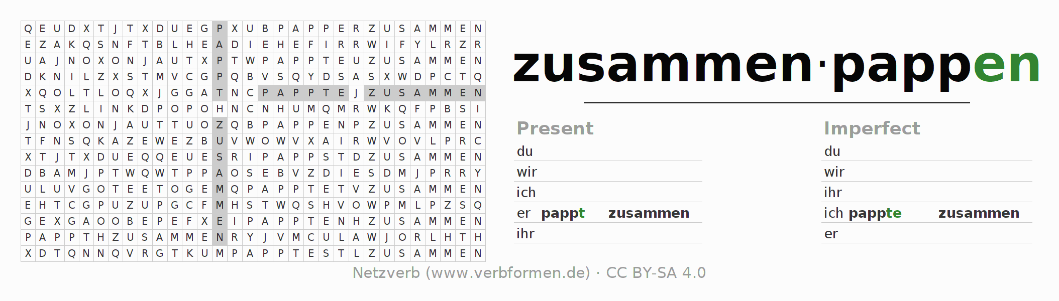 Word search puzzle for the conjugation of the verb zusammenpappen (ist)