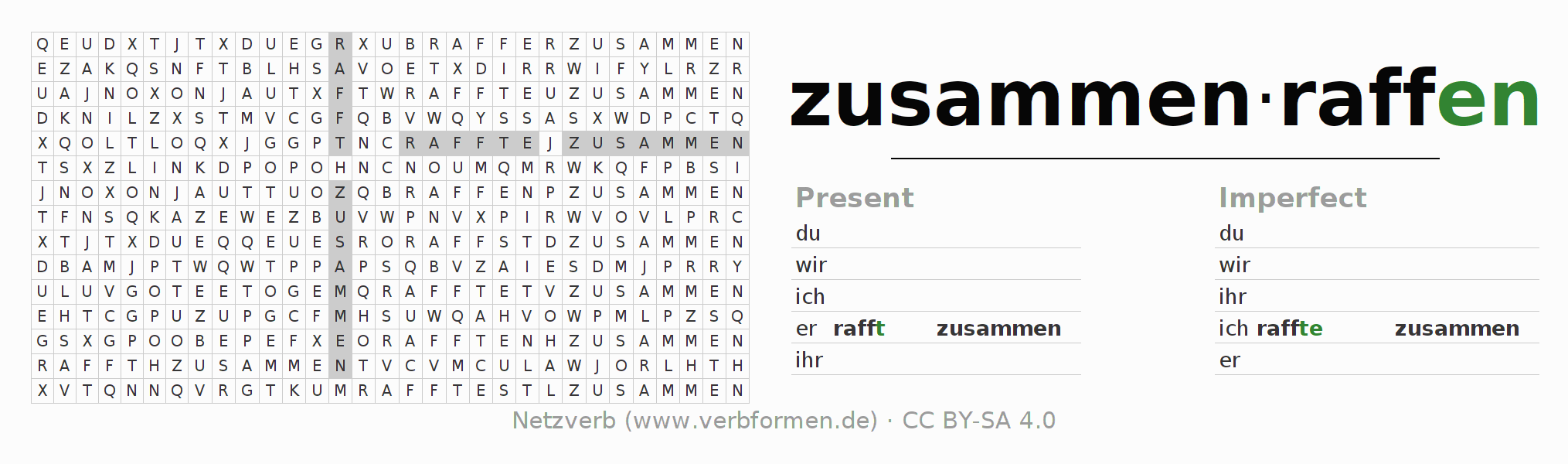 Word search puzzle for the conjugation of the verb zusammenraffen