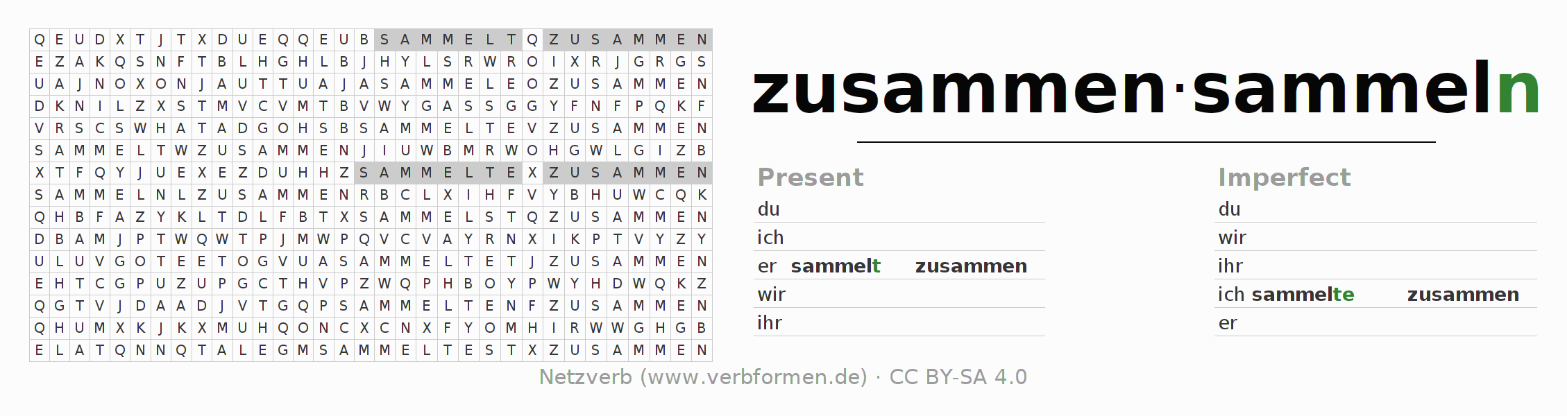 Word search puzzle for the conjugation of the verb zusammensammeln