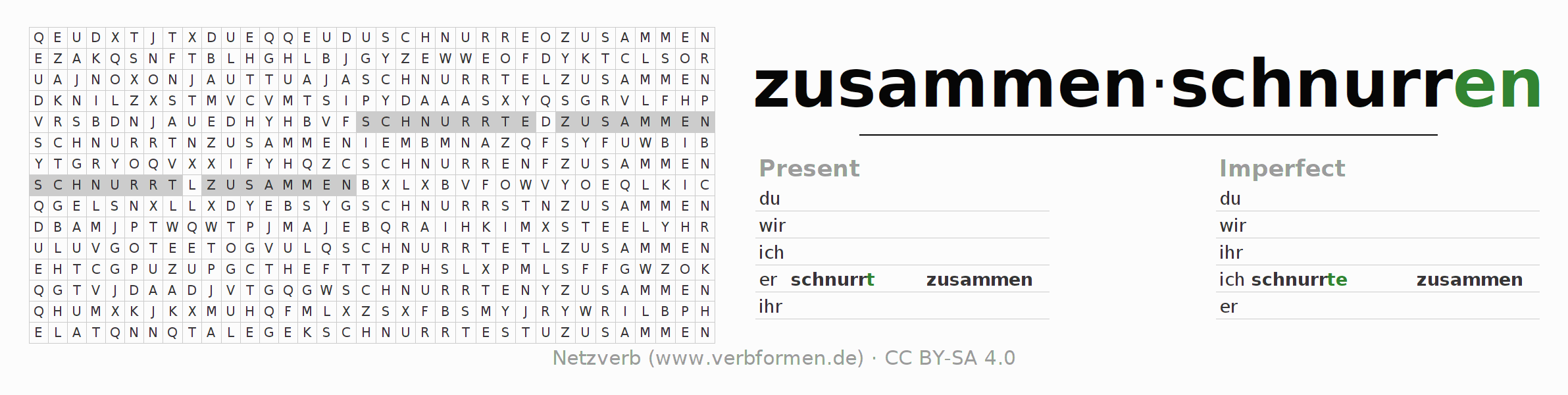 Word search puzzle for the conjugation of the verb zusammenschnurren