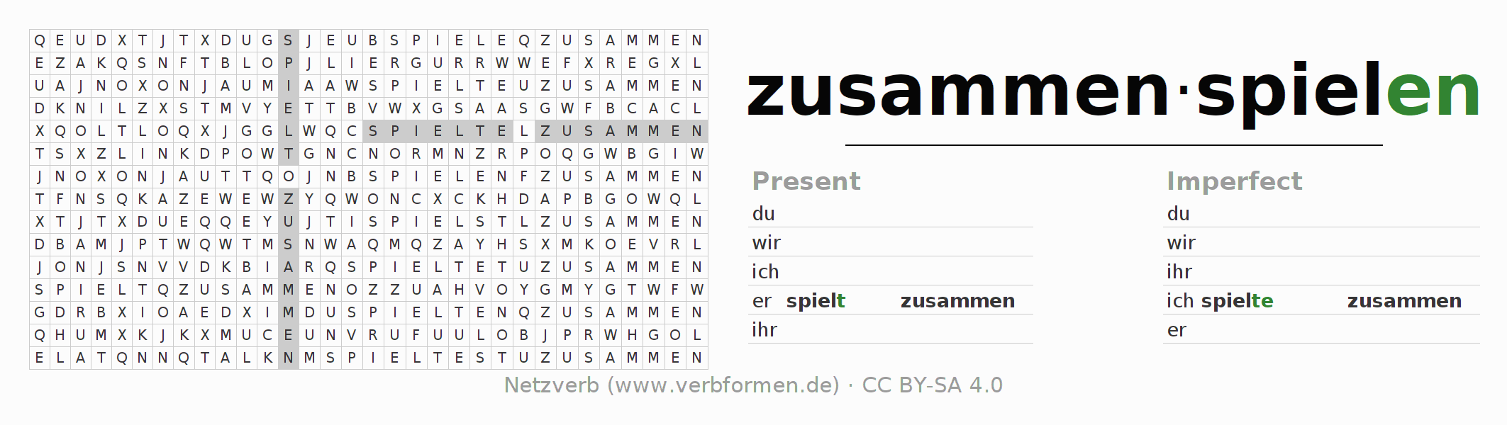 Word search puzzle for the conjugation of the verb zusammenspielen