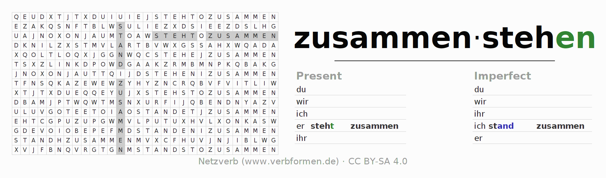Word search puzzle for the conjugation of the verb zusammenstehen (hat)