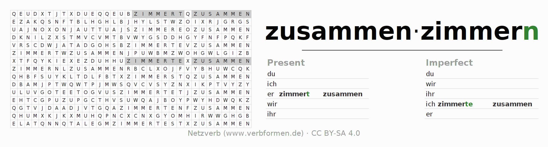 Word search puzzle for the conjugation of the verb zusammenzimmern