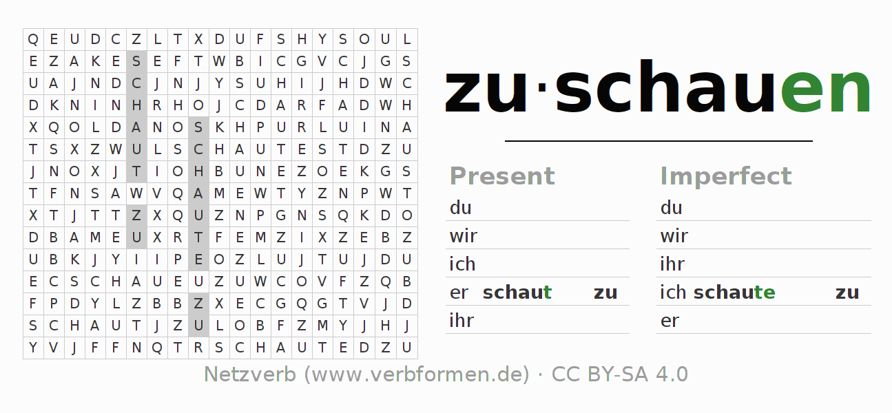 Word search puzzle for the conjugation of the verb zuschauen
