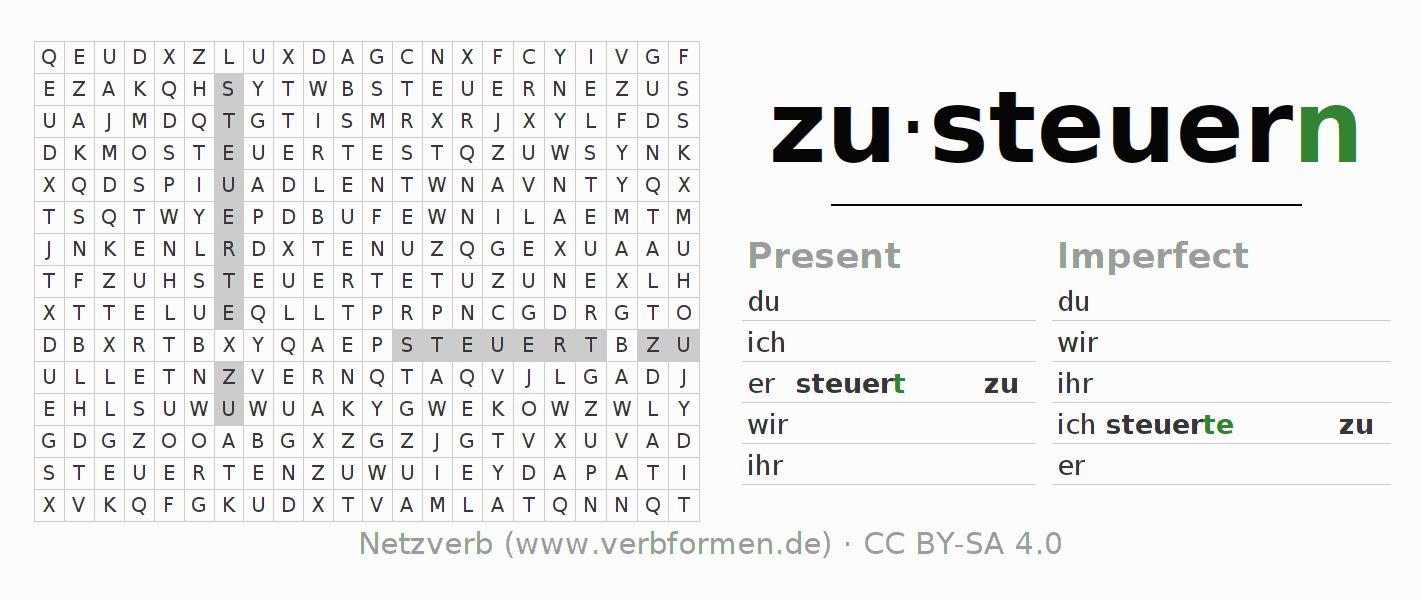 Word search puzzle for the conjugation of the verb zusteuern (hat)