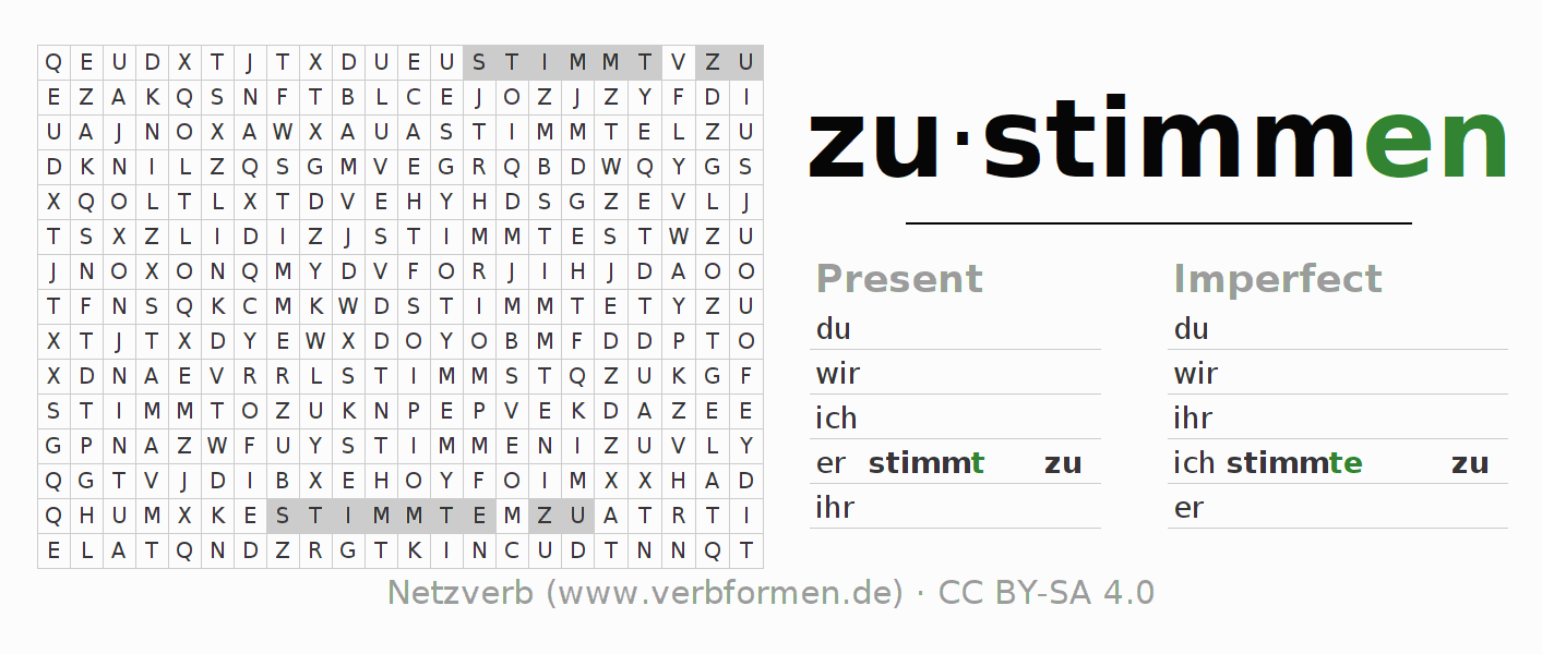 Word search puzzle for the conjugation of the verb zustimmen