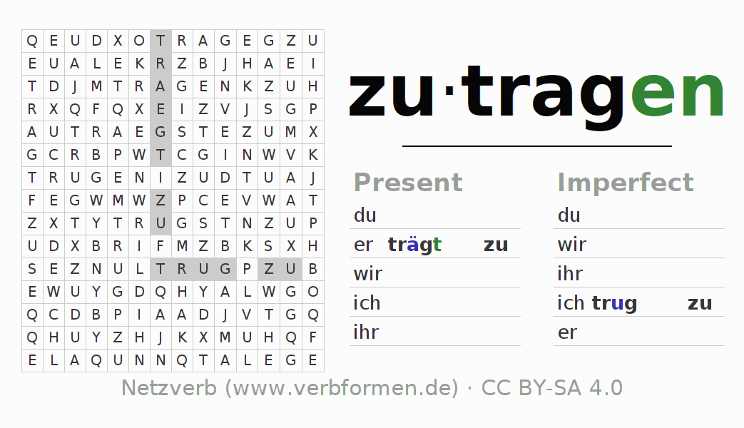 Word search puzzle for the conjugation of the verb zutragen