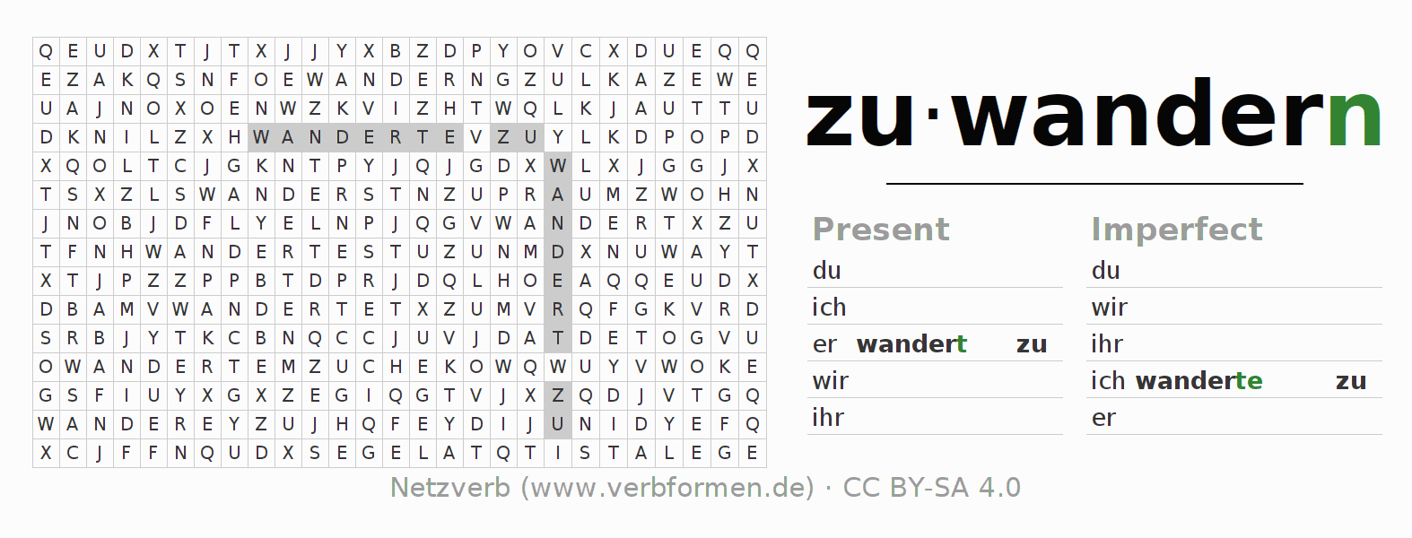 Word search puzzle for the conjugation of the verb zuwandern