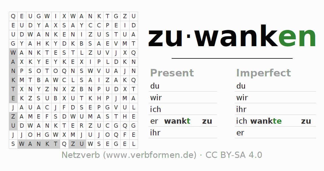 Word search puzzle for the conjugation of the verb zuwanken
