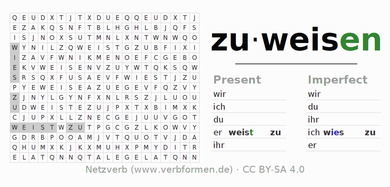 Word search puzzle for the conjugation of the verb zuweisen