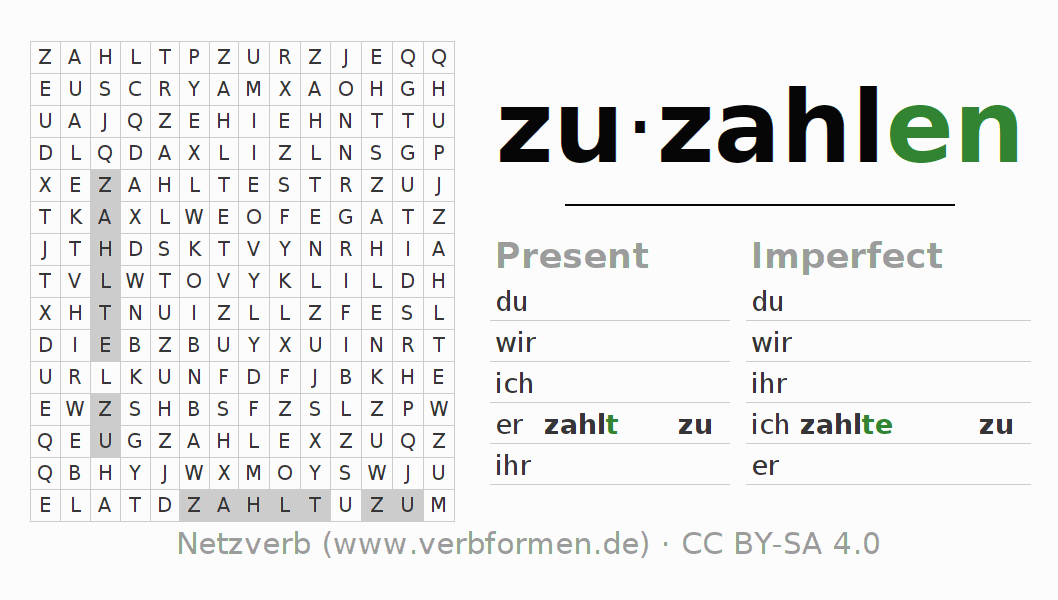 Word search puzzle for the conjugation of the verb zuzahlen