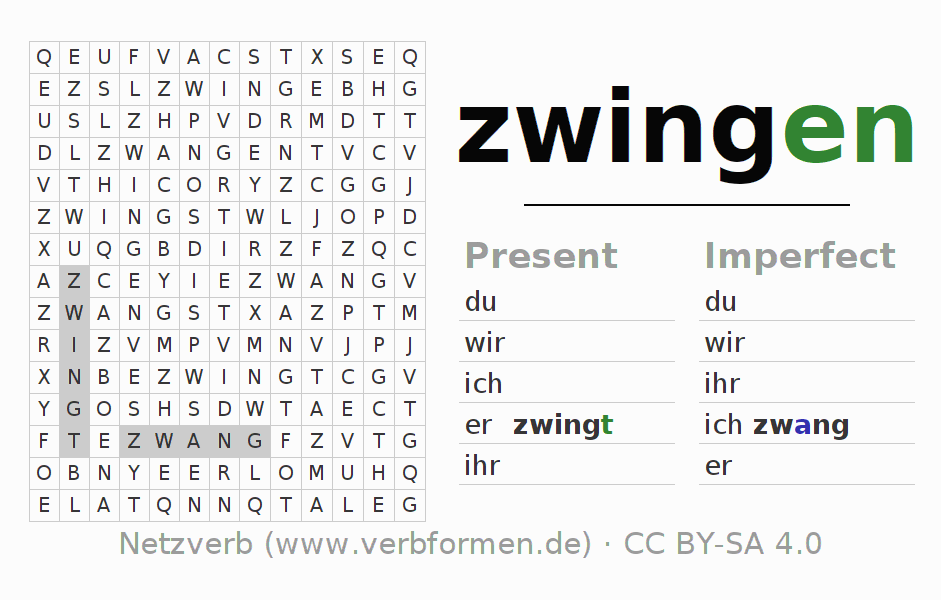 Word search puzzle for the conjugation of the verb zwingen