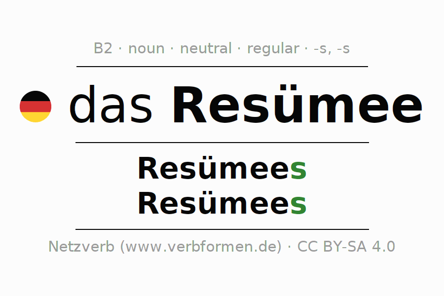 Declension Resümee (resume, summary) | All forms, plural ...